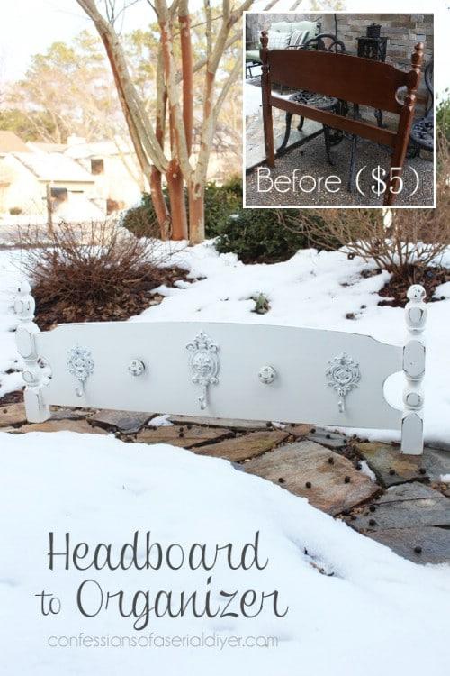 DIY Headboard Organizer