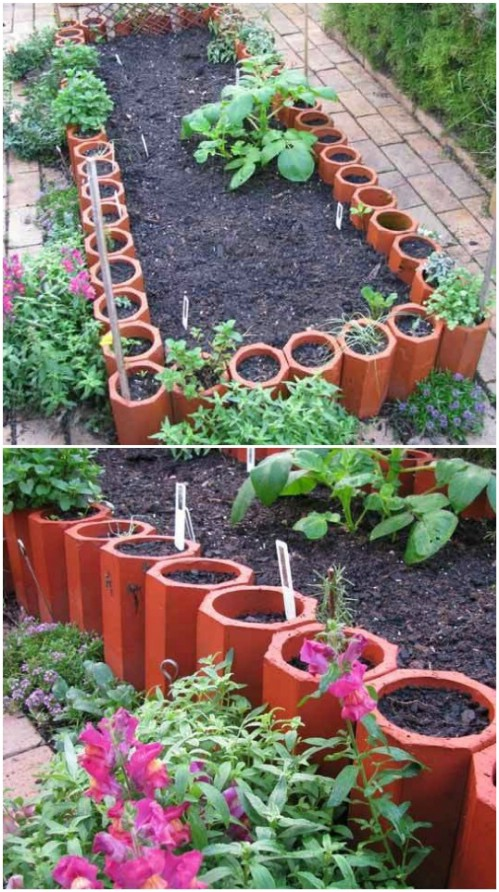 DIY Terra Cotta Pipe Edging