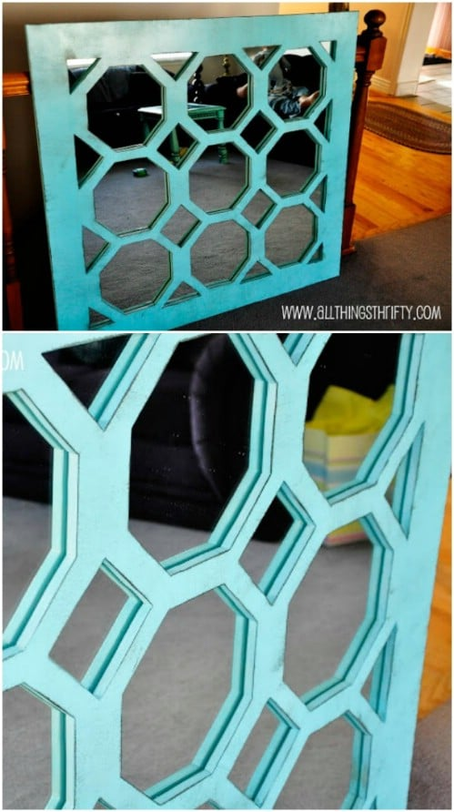 DIY Wood Turquois Mirror