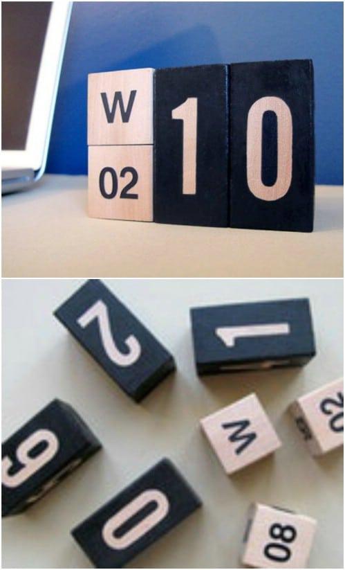 Perpetual Wooden Block Calendar