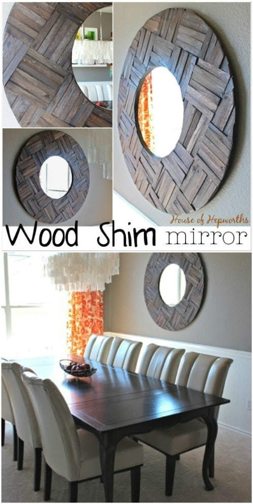 Rustic Wood Shim Mirror