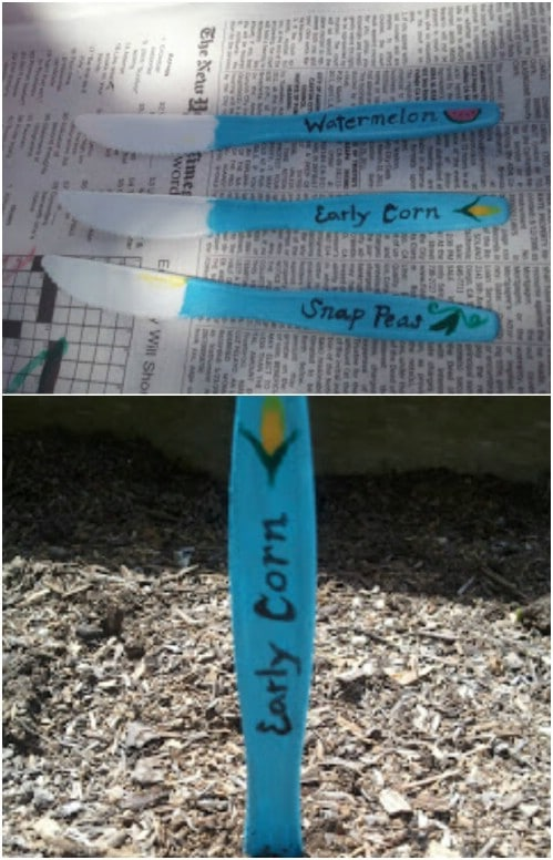 Repurposed Plastic Knife Plant Marker