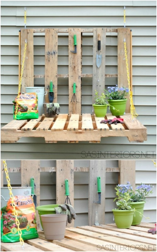 DIY Fold Down Pallet Gardening Table