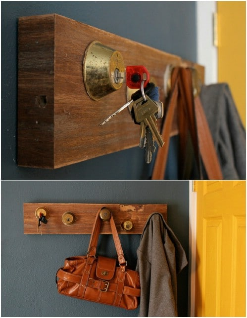 Upcycled Old Key And Lock Coat Rack