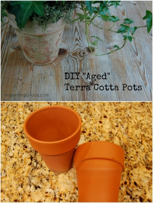 Pottery Barn Inspired Aged Terra Cotta Pots
