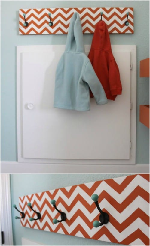 Upcycled Scrap Wood Chevron Coat Rack