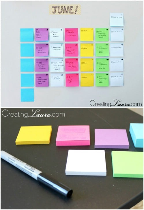 Easy Post It Note Calendar