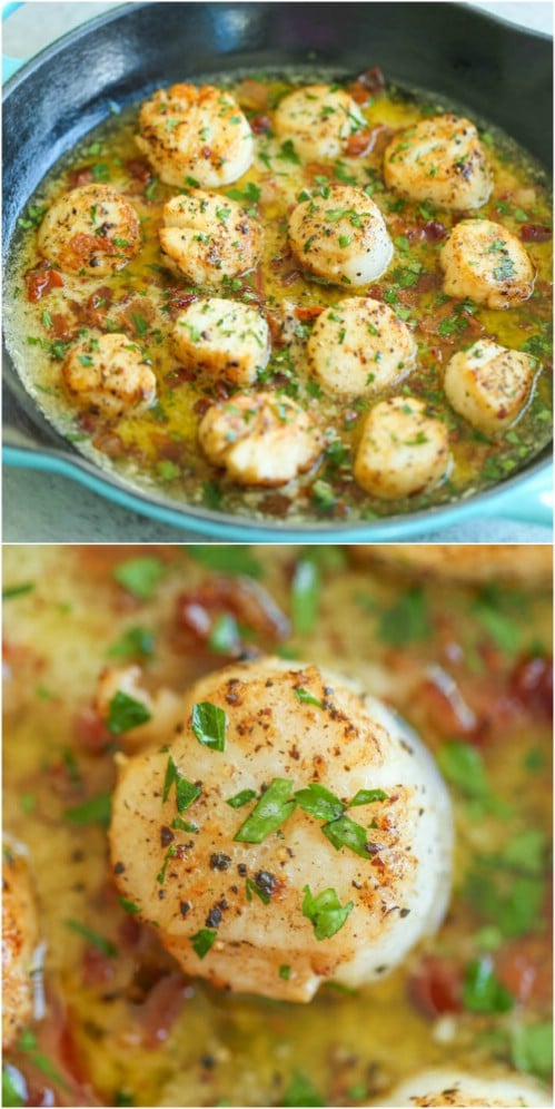Seared Scallops With Bacon And Garlic