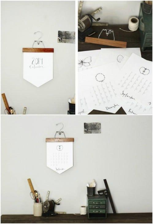 Vintage Wood Hanger Calendar