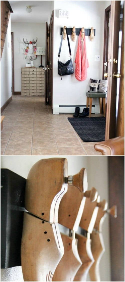 DIY Vintage Wooden Shoe Stretcher Coat Rack