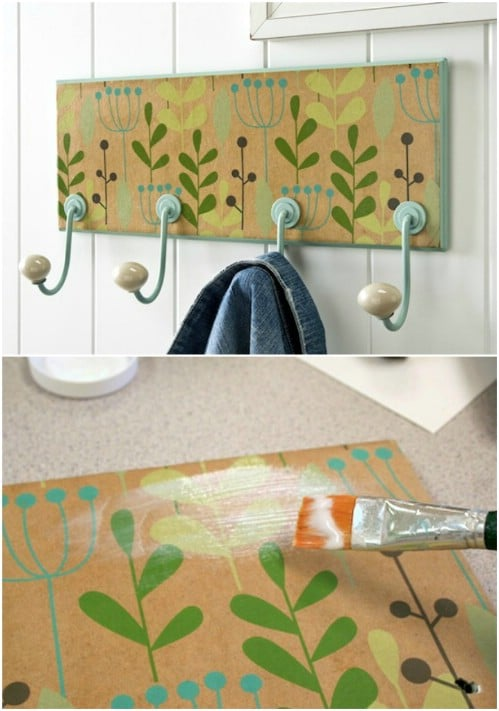 DIY Wrapping Paper Coat Rack