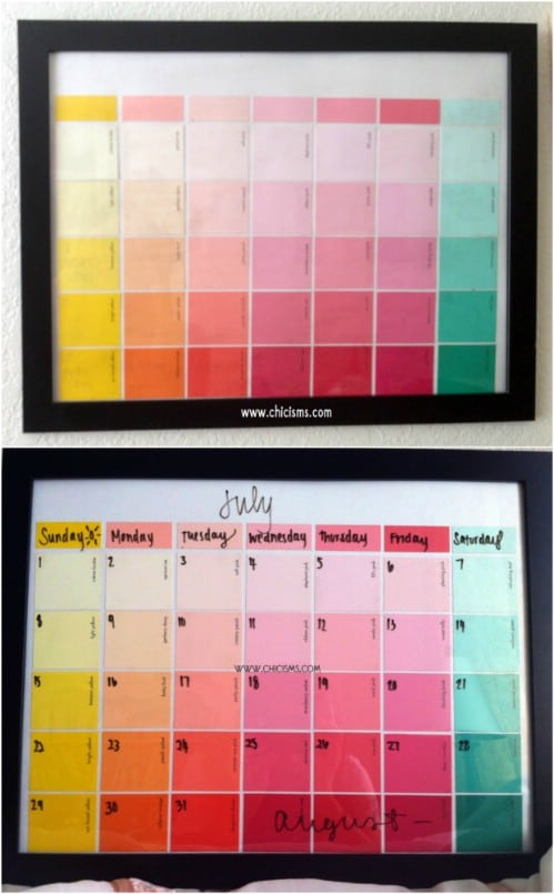 Colorful Paint Sample Calendar