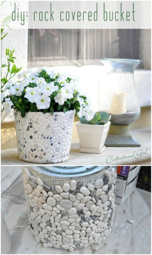 DIY Rock Covered Planters