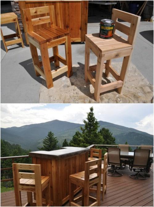 DIY Wooden Patio Barstools