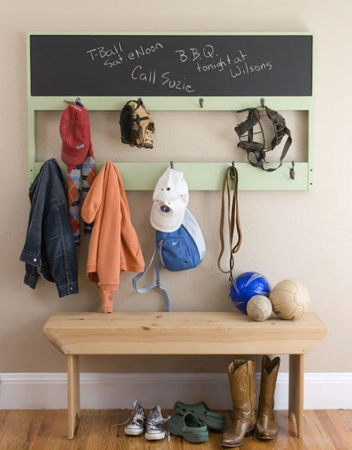 Upcycled Headboard Message Center Coat Rack