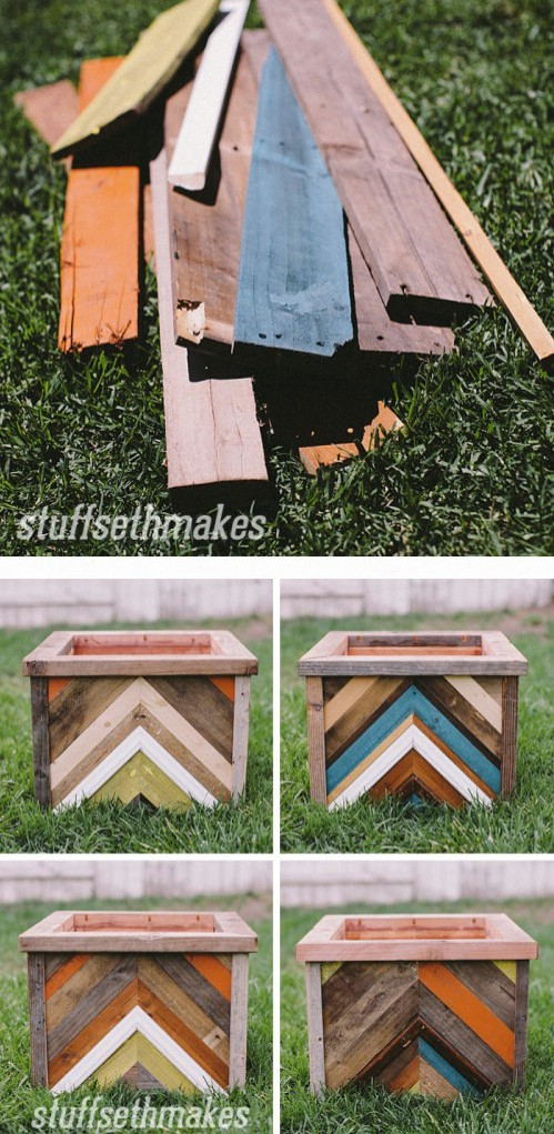 Recycled Wood Chevron Planter Box