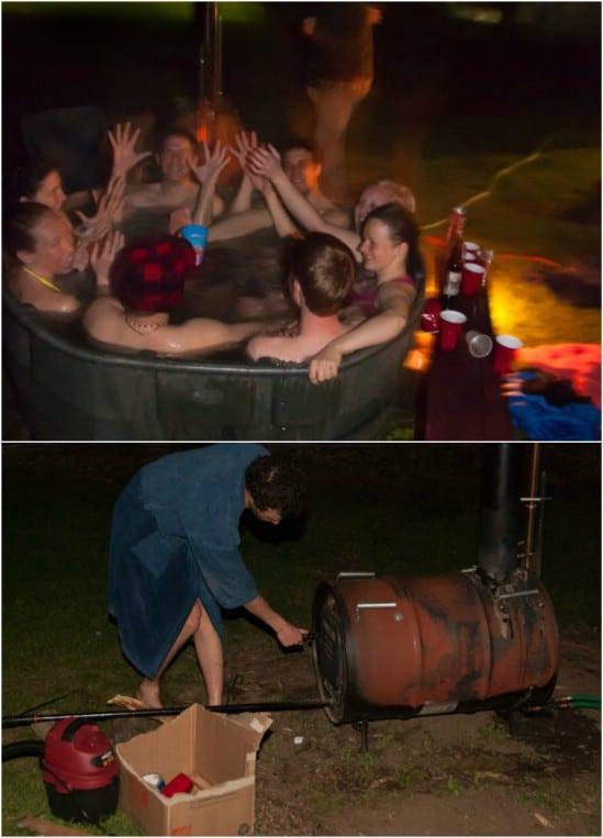 Homemade Steel Barrel Hot Tub