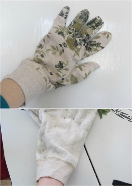 Easy Upcycled Sweatshirt Gardening Gloves