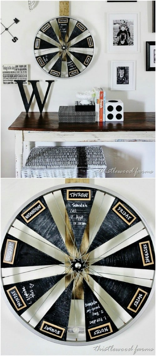 Upcycled Bicycle Wheel Chalkboard Calendar