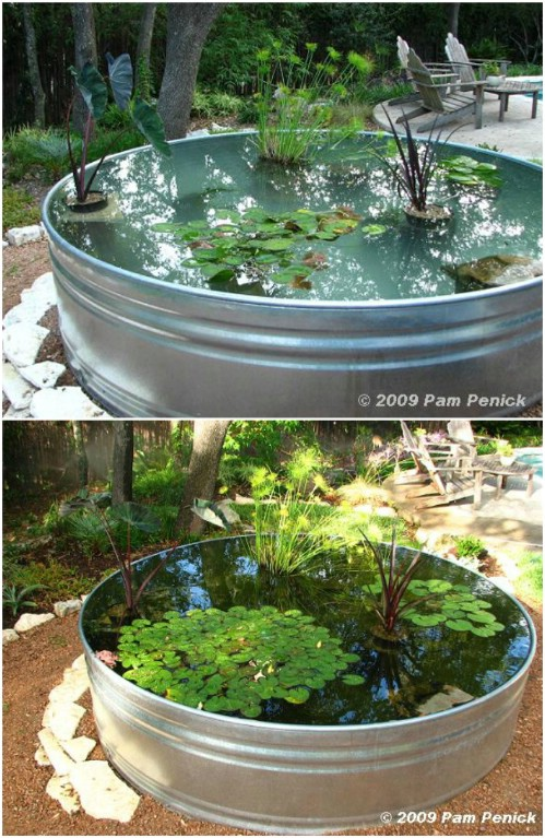 Repurposed Stock Tank Garden Pond