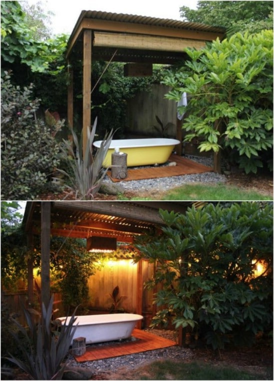 Recycled Bathtub Turned Hot Tub