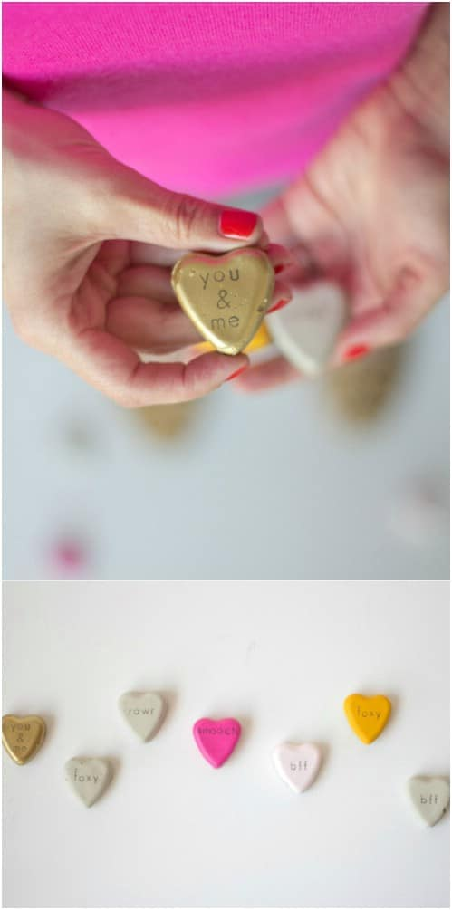 DIY Cement Conversation Hearts