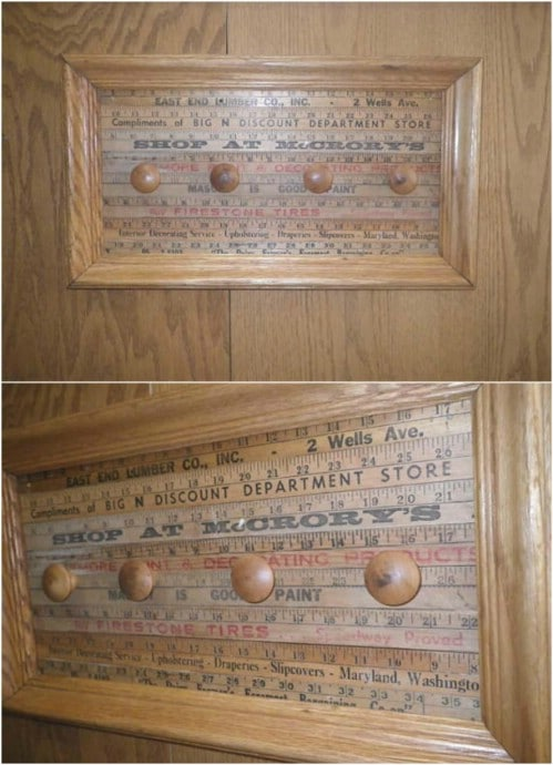 Vintage Framed Yardstick Coat Rack