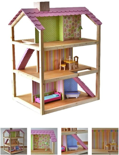 Simple Open Design Wooden Dollhouse