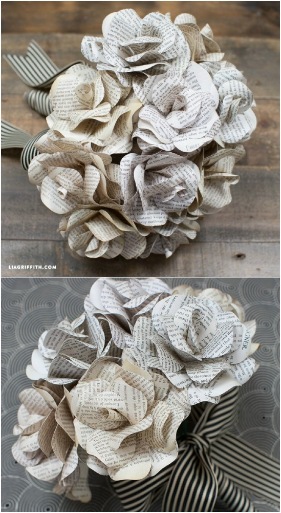 Simple DIY Vintage Book Page Roses