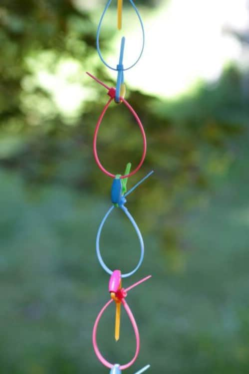 DIY Neon Zip Tie Rain Chain