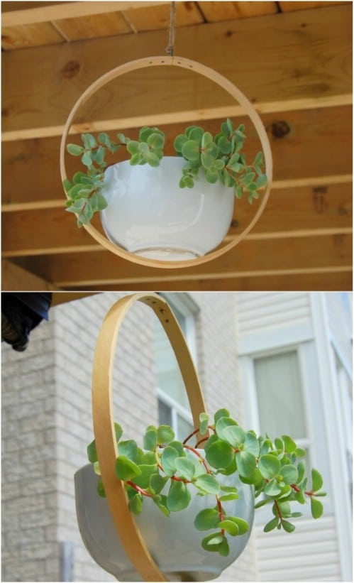 Repurposed Embroidery Hoop Hanging Planter