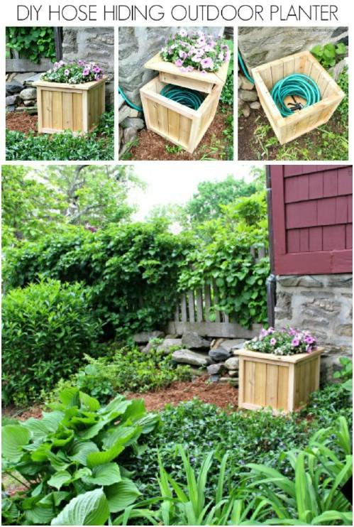 DIY Garden Hose Hiding Planter Box