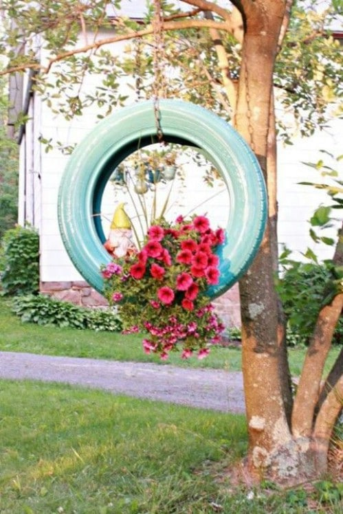 Upcycled Tire Hanging Planter