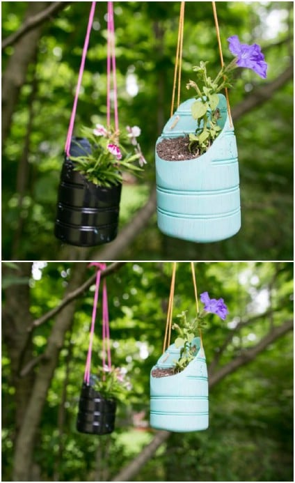 Upcycled Plastic Jug Planters