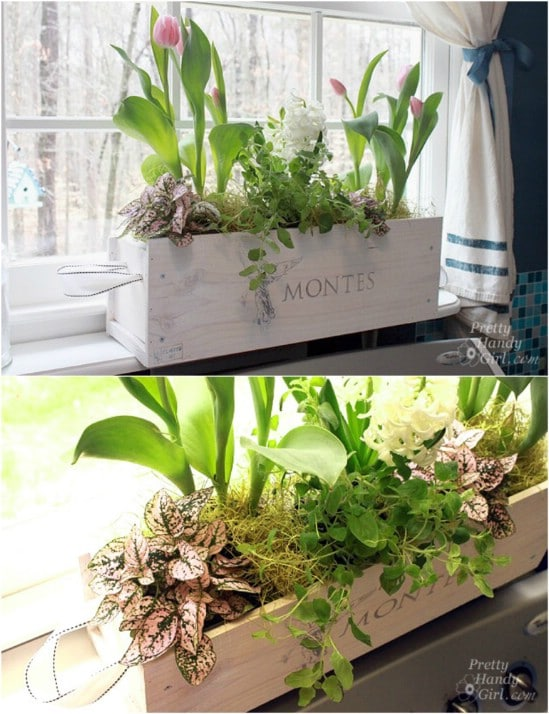 White Washed Wine Crate Window Box