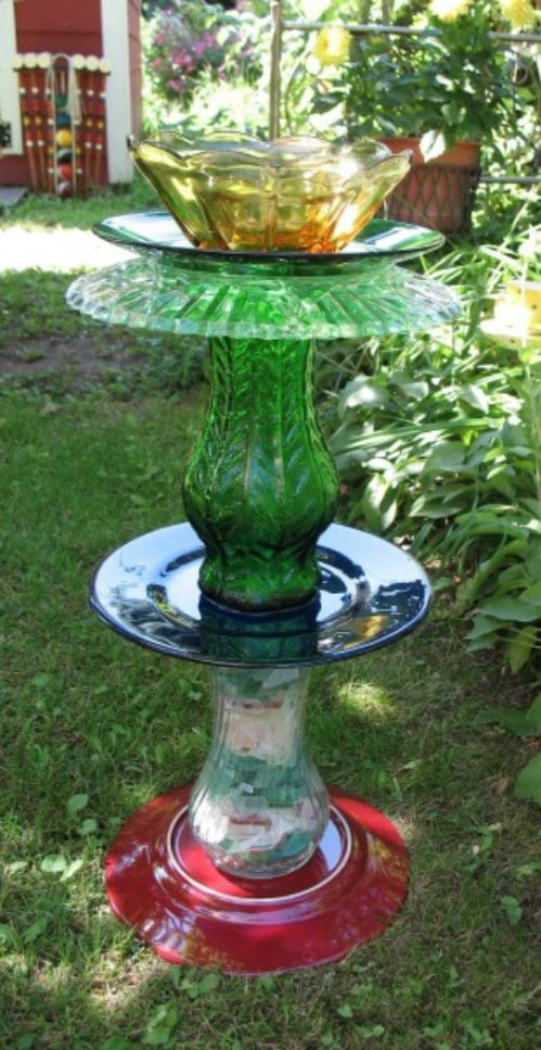 Repurposed Plate And Vase Bird Bath