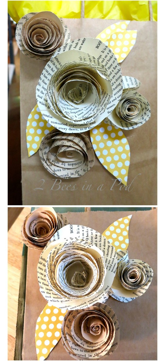 Easy Rolled Book Page Roses