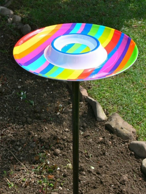 Repurposed Chip Platter Bird Bath