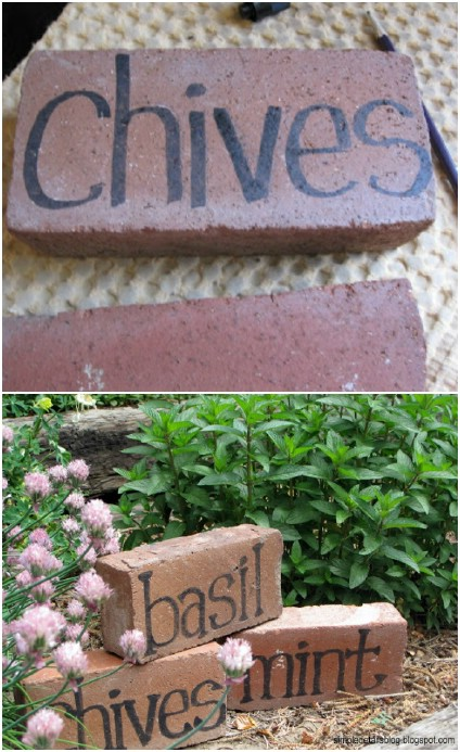 Five Minute Brick Garden Markers