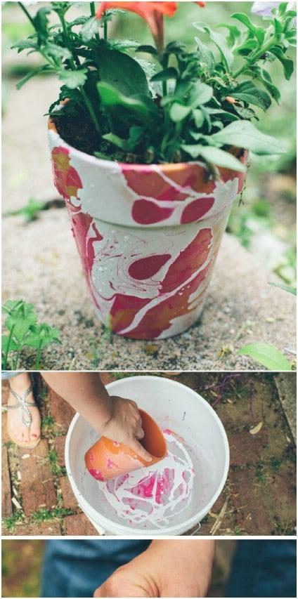 DIY Marbled Terra Cotta Planters