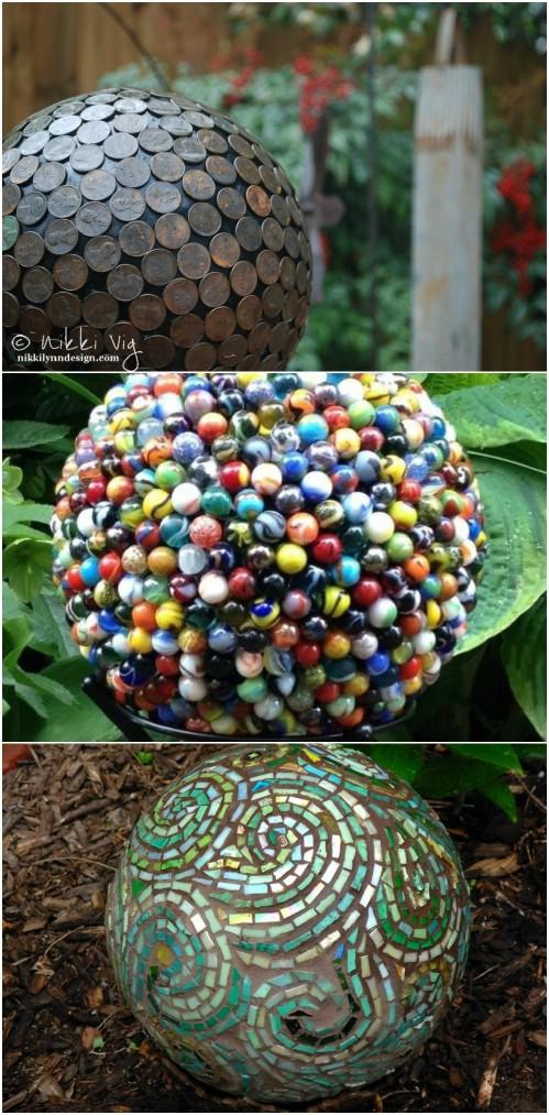 Repurposed Bowling Ball Gazing Ball