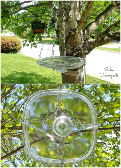 Repurposed Glass Hanging Bird Bath
