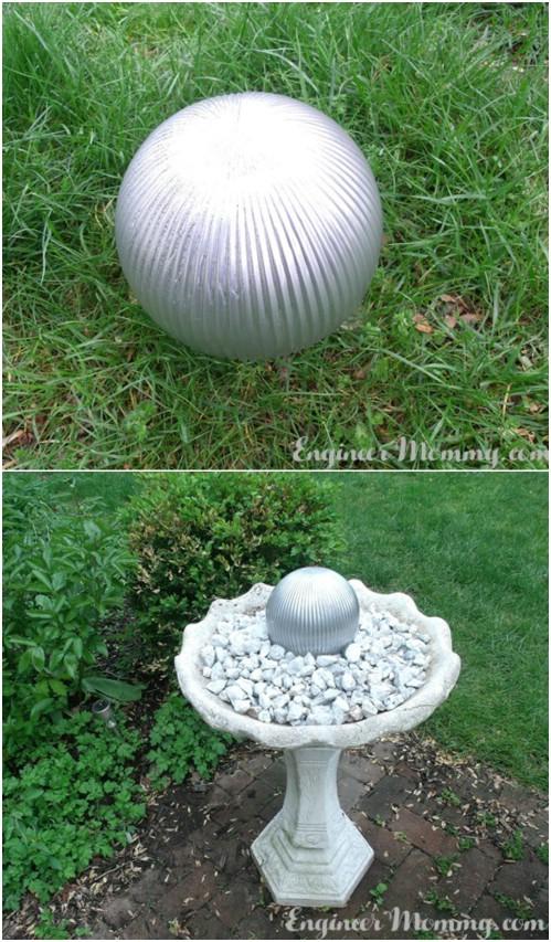 Repurposed Glass Light Fixture Gazing Ball