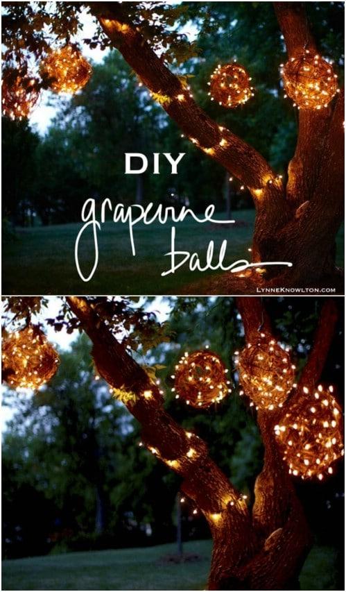 DIY Lighted Grapevine Balls