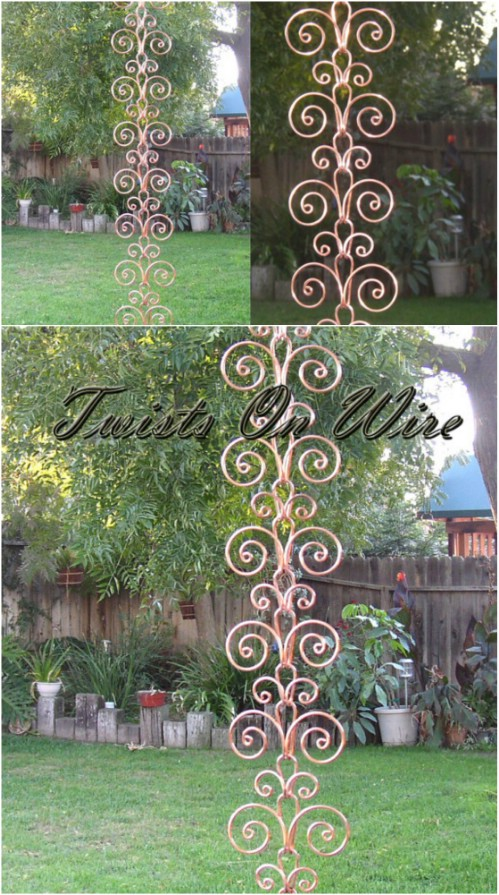 Copper Swirl Rain Chain