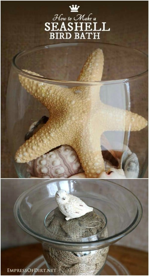 Repurposed Glass Dish Bird Bath
