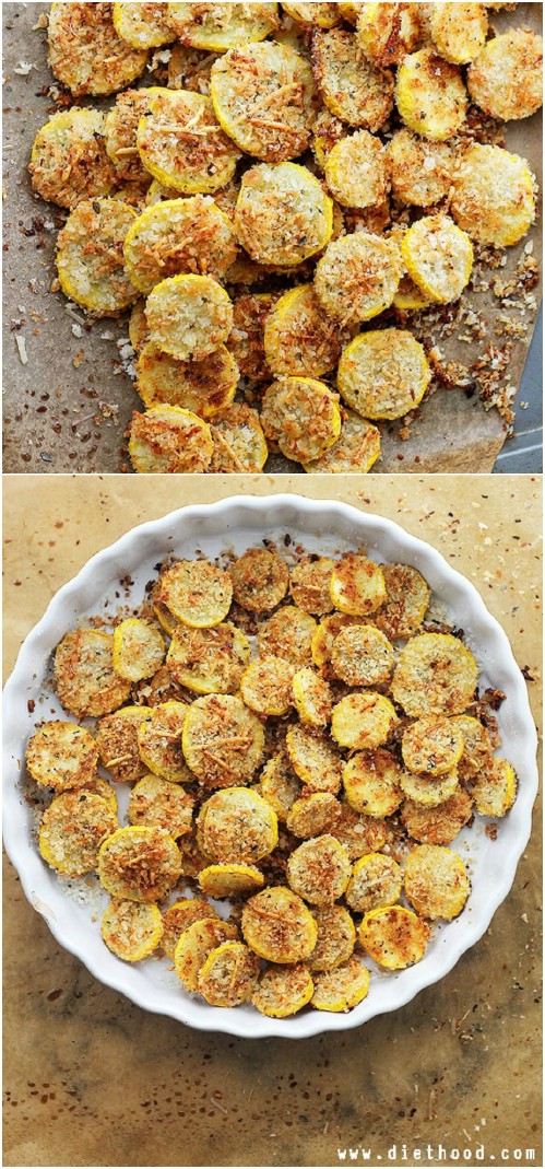 Garlic Parmesan Summer Squash Chips