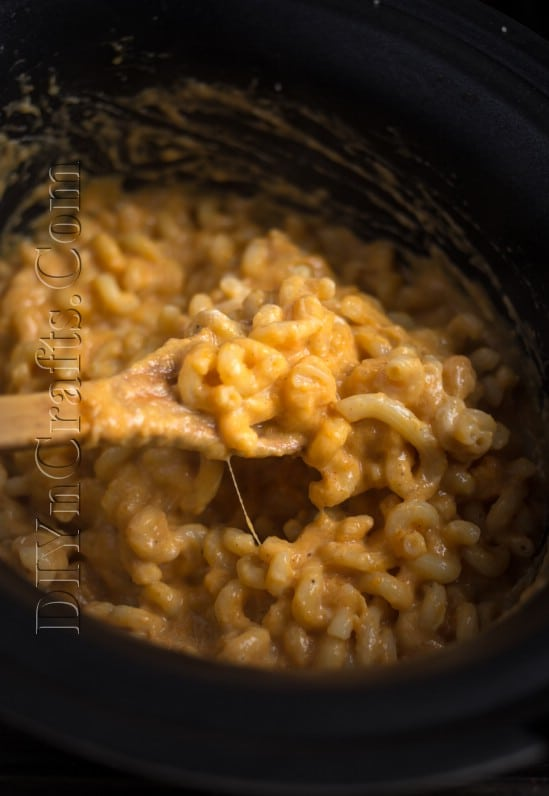 Cooked butternut mac and cheese in slow cooker.