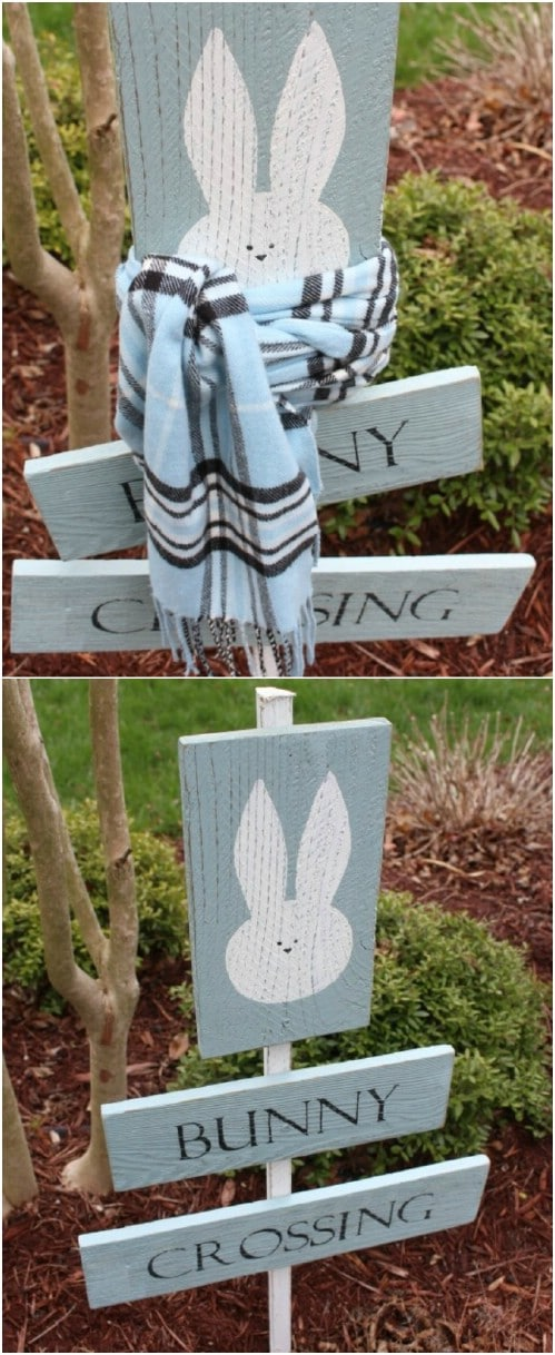 Repurposed Wood Bunny Crossing Sign