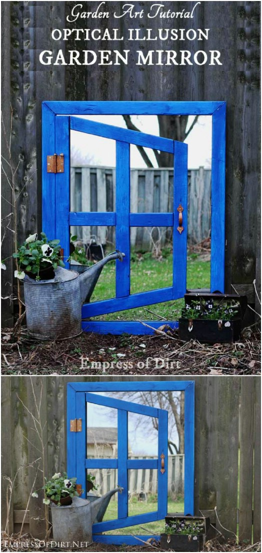 DIY Optical Illusion Garden Mirrors